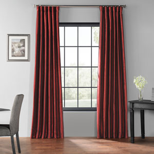 Ruby 96 x 50 In. Blackout Vintage Textured Faux Dupioni Silk Curtain Single Panel
