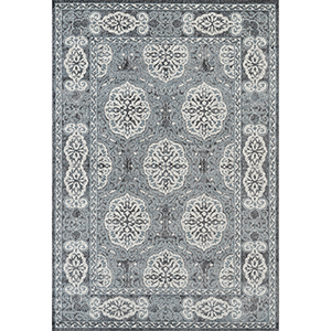 Alexandria Grey and Blue Rectangular: 5 Ft. 1 In. x 7 Ft. 6 In. Rug