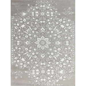 Artist Silver and White Rectangular: 2 Ft x 3 Ft Rug