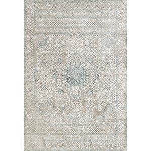 Cambridge Ivory and Aqua Rectangular: 5 Ft. 3 In. x 7 Ft. 3 In. Rug