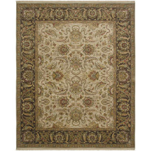 Luxor Siwah Design Ivory and Chocolate Rectangular: 2 Ft. x 3 Ft. Rug