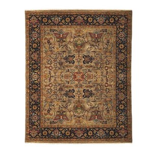 Antiquity Tarsus Design Camel and Blue Rectangular: 8 Ft. x 10 Ft. Rug