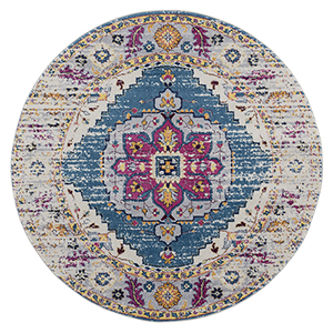 Manhattan Teal and Pink Round: 6 Ft. 6 In. x 6 Ft. 6 In. Rug