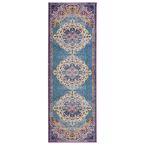 Manhattan Blue and Orange Runner: 2 Ft. 6 In. x 6 Ft. Rug