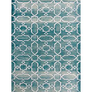 Shibori Sea Blue and White Rectangular: 5 Ft x 8 Ft Rug