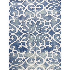 Shibori Blue and White Rectangular: 8 Ft x 11 Ft Rug