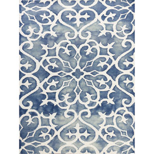 Shibori Blue and White Rectangular: 7 Ft 6 In x 9 Ft 6 In Rug