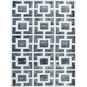Shibori Gray and White Rectangular: 5 Ft x 8 Ft Rug