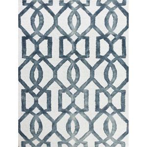 Shibori White and Gray Rectangular: 2 Ft x 3 Ft Rug