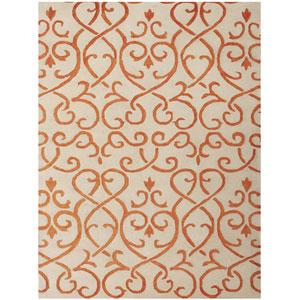 Studio Moore Design White and Orange Rectangular: 2 Ft. x 3 Ft. Rug