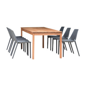 Amazonia Teak Rectangular Patio Dining Table Set, 7-Piece