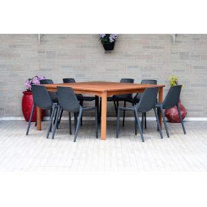 Amazonia Teak Square Dining Table Set, 9-Piece