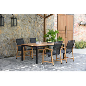 Amazonia Teak Rectangular Extendable Patio Dining Table Set