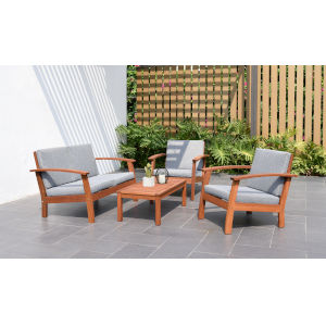 Amazonia Teak Patio Conversation Set, 4-Piece