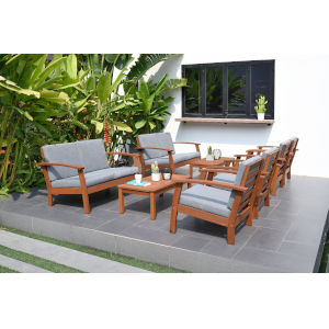 Amazonia Teak Patio Deluxe Conversation Set, 8-Piece