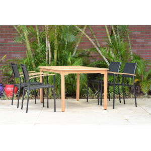 Amazonia Teak Rectangular Patio Dining Table Set, 5-Piece
