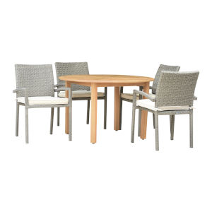 Amazonia Teak 47-Inch Patio Dining Table Set, 5-Piece