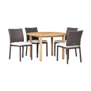 Amazonia Teak Grey Patio Dining Table Set, 5-Piece