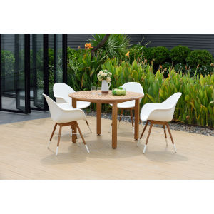 Amazonia Teak Uv Radiation Patio Dining Table Set, 5-Piece