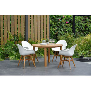 Amazonia Teak 47-Inch Diameter Patio Dining Table Set, 5-Piece