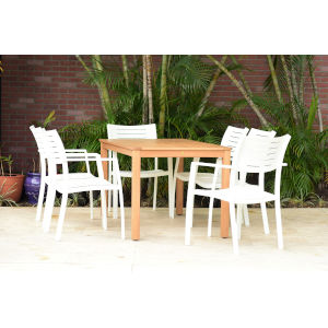 Amazonia Teak 59-Inch Patio Dining Table Set, 7-Piece