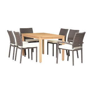 Amazonia Teak Rectangular Dining Table Set, 7-Piece