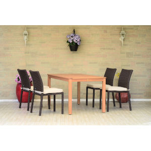 Amazonia Teak Finish Rectangular Dining Table Set, 5-Piece