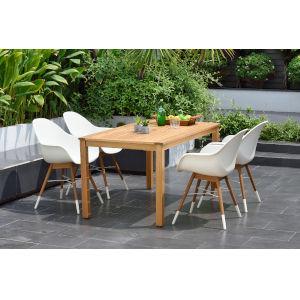Amazonia Teak 59-Inch Rectangular Dining Table Set, 5-Piece
