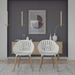 Amazonia White Eucalyptus Wood Chair Set, 2-Piece