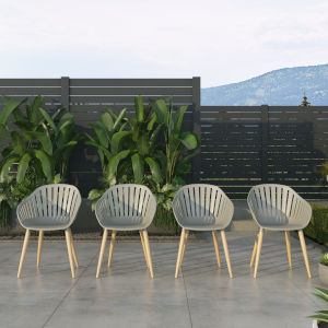 Amazonia Gray Chair Set with Resin Seats, 4-Piece