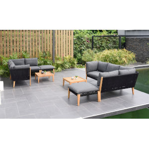 Amazonia Teak Patio Seating Set with Black Cushions, 8-Piece
