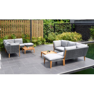 Amazonia Teak Patio Seating Set with Grey Cushions, 8-Piece