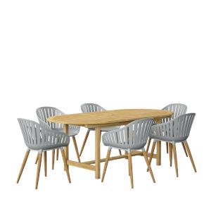 Amazonia Brown Oval Patio Dining Set, 7-Piece