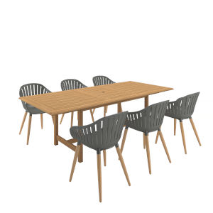 Amazonia Brown Certified Teak Rectangular Patio Dining Set, 7-Piece