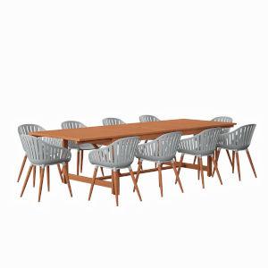 Amazonia Brown Rectangular Patio Dining Set, 11-Piece