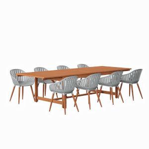 Amazonia Brown Rectangular Patio Dining Set, 9-Piece