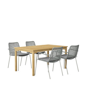 Amazonia Brown Rectangular Patio Dining Set, 5-Piece