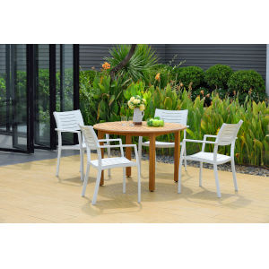 Amazonia Teak Finish Eucalyptus Wood Patio Dining Table Set, 5-Piece