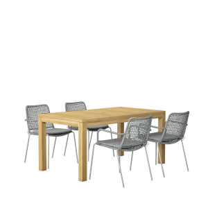 Amazonia Brown and Gray Rectangular Patio Dining Set, 5-Piece
