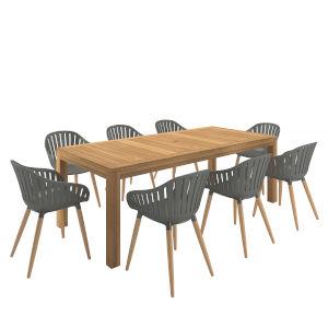 Amazonia Brown Ractangular Patio Dining Set, 9-Piece