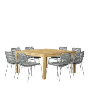 Amazonia Brown Square Patio Dining Set, 9-Piece