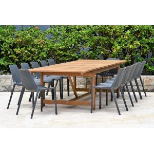 Amazonia Teak Patio Dining Table Set, 13-Piece