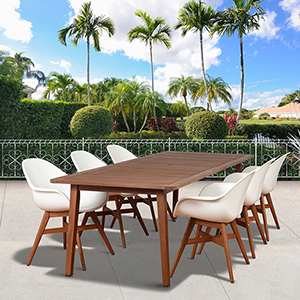 Amazonia Charlotte Deluxe 7 Piece Rectangular Patio Dining Set