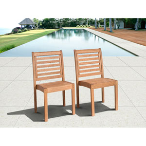 Amazonia Eucalyptus Stackable Chair Set without Arms