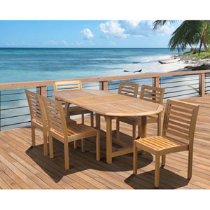 Amazonia Eucalyptus Seven-Piece Armless Oval Extendable Dining Set