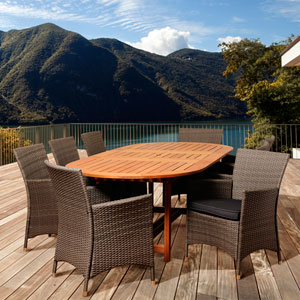 Amazonia Nicholas 9 Piece Eucalyptus/Wicker Extendable Rectangular Patio Dining Set with Grey Cushions