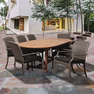 Amazonia Warner 9 Piece Eucalyptus/Wicker Extendable Oval Dining Set with Grey Cushions