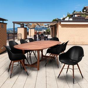 Amazonia Charlotte 9 Piece Extendable Rectangular Patio Dining Set, Black