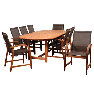 Amazonia Bahamas 9 Piece Eucalyptus Extendable Oval Dining Set with Brown Sling Chair