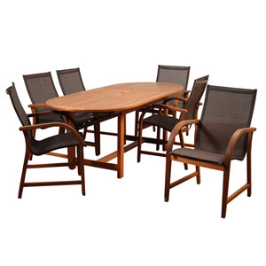Amazonia Bahamas 7 Piece Eucalyptus Extendable Rectangular Dining Set with Brown Sling Chair